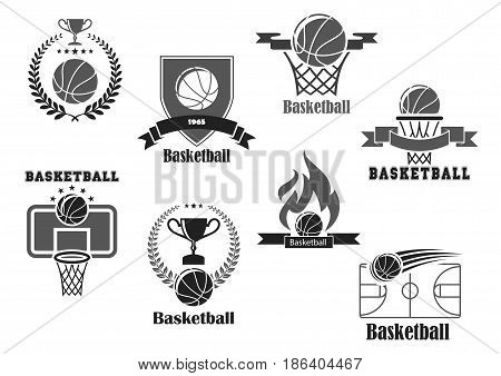 Basketball club championship or tournament award vector icons. Isolated symbols of basketball ball and winner cup prize or champion ribbon with trophy laurel wreath and stars
