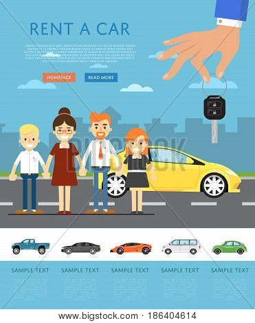 Rent a car concept with universal car, happy family and hand holding auto key. Transport service, online pre order car vector illustration. Auto business, test drive, selling, leasing or renting car