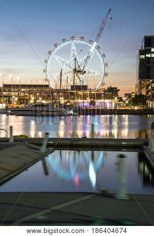 The Melbourne star observation in Docklands waterfront area of Melbourne, Australia.