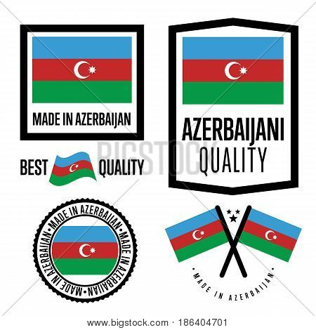 Azerbaijan quality isolated label set for goods. Exporting stamp with azerbaijani flag, nation manufacturer certificate element, country product vector emblem. Made in Azerbaijan badge collection.