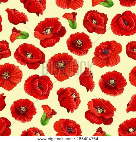 Floral poppy blossoms vector seamless pattern. Tile of blooming red flowers in garden and flourish field of spring petals in bloom for tracery or textile adornment design