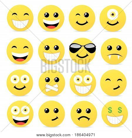 Modern yellow laughing happy smile vector illustration