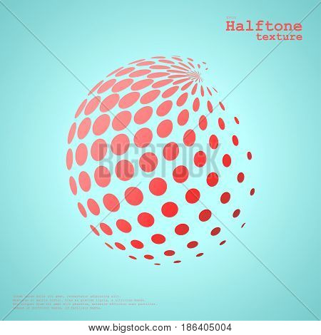 Abstract halftone sphere in red color isolated over the center of complement color background and with example of text, created for business advertising, presentation, logo, web