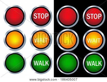 Traffic light illustration art on white and black background