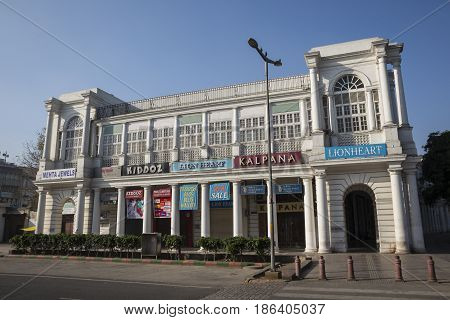 DELHI INDIA-APR 9 : scene of building at Connaught Place F-block. this place is large shopping place in central delhi on april 9 2015 india