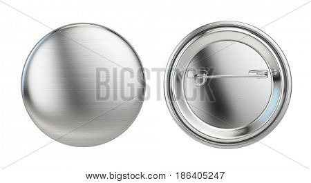 Silver badge pin brooch isolated on white mock-up. 3d rendering
