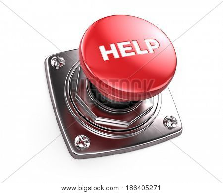 Red Help button - help concept. 3d render