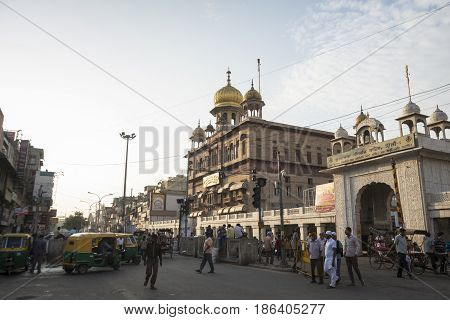 DELHI INDIA - JUL 25 : morning scene of chandni chowk this place is ancient metket and famous place of Delhi on july 25 2015 india