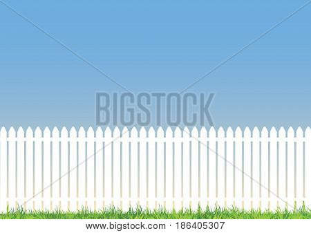 white picket fence with blue background and lots of space for copy