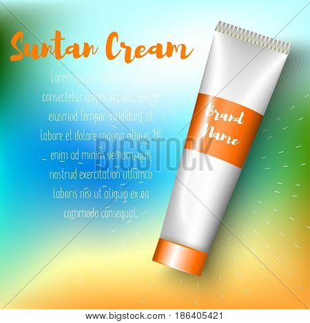 Sun Care Cream Bottle, Tube Template for Ads or Magazine Background. 3D Realistic Vector illustration. ads template, sun protection cosmetic products design on gradient mesh beach background