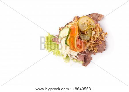 Danish specialties and national dishes high-quality open sandwichRoast beef with remoulade and roasted crisp onions isolated on white background