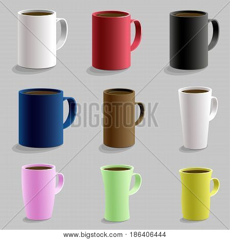 Set Of Various Shaped Mug Cup For Hot Drink Caffe. Isolated Detailed Realistic 3D Vector With Shadow