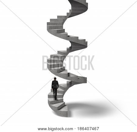 Businessman Climbing Concrete Spiral Staircase