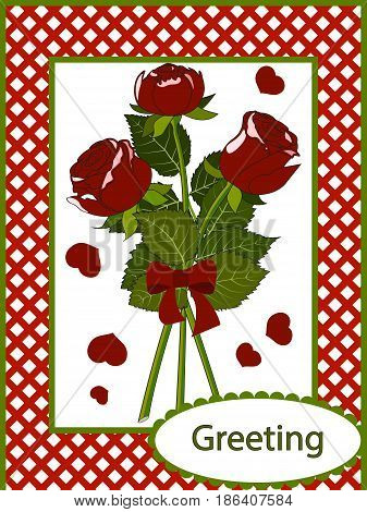 Greeting card three red roses with leaves and petals in a red checkered frame, vector illustration