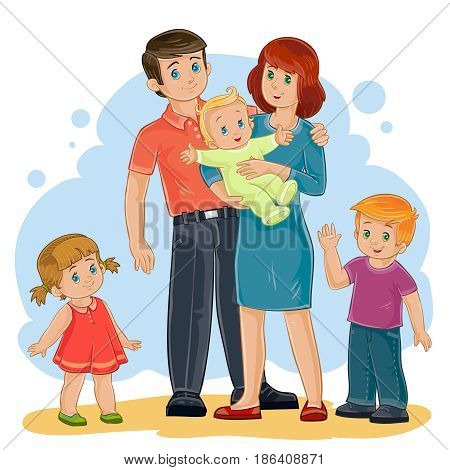 Vector illustration of a happy family of five people - dad, mom, daughter, son and baby - posing together