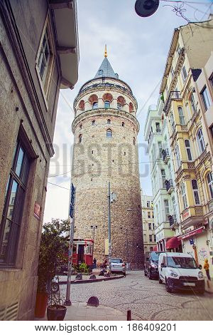 ISTANBUL, TURKEY - MAY 1, 2017: Galata tower is a famous landmark in the European side of Istanbul.