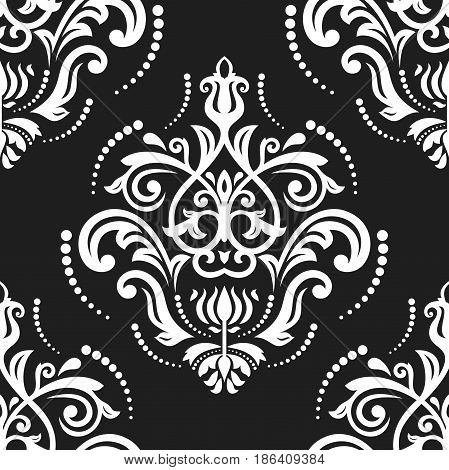 Orient vector classic black and white pattern. Seamless abstract background with repeating elements. Orient background