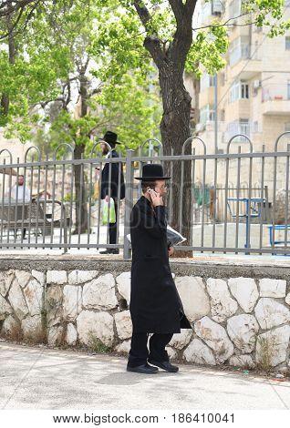 JERUSALEM, ISRAEL - APRIL 30, 2017: Scene at the street of Jewish neighborhood in Jerusalem
