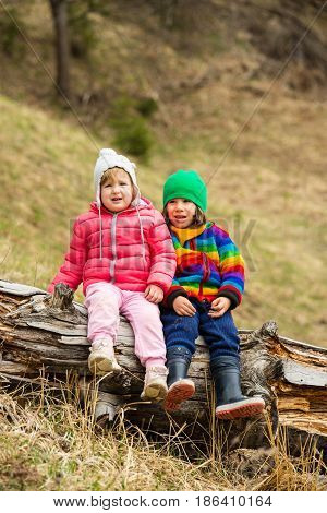 Two little kids sitting on a tree trunk near forest