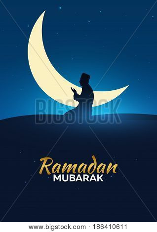 Ramadan Kareem. Ramadan Mubarak. Pray. Greeting Card. Arabian Night With Crescent Moon.