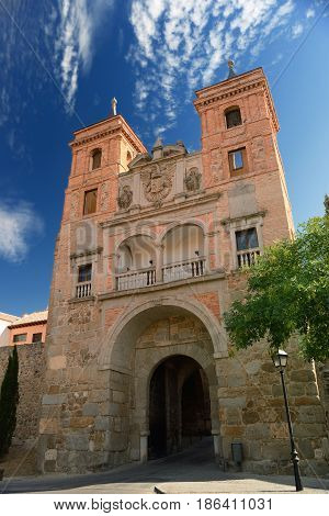 Medieval gate in the great deffensive wall around Toledo in Spain