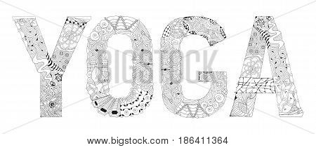 Hand-painted art design. Adult anti-stress coloring page. Black and white hand drawn illustration word YOGA for coloring book for anti stress T - shirt design tattoo and other decorations