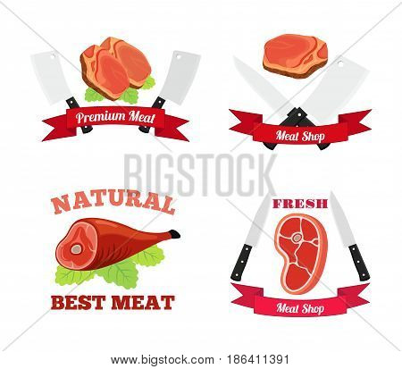 Meat logo, label for menu, restaurants, butchery shops. Fresh meat, beef, pork. Made in cartoon flat style with ribbons.