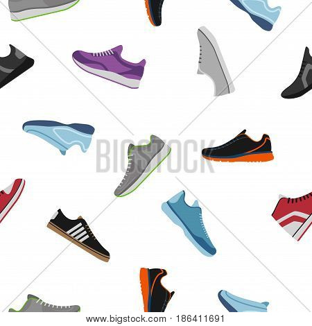 Shoes pattern on white background. Sportwear sneakers, everyday footwear clothing in flat style. High and low keds, footwear for sport and casual look vector illustration.