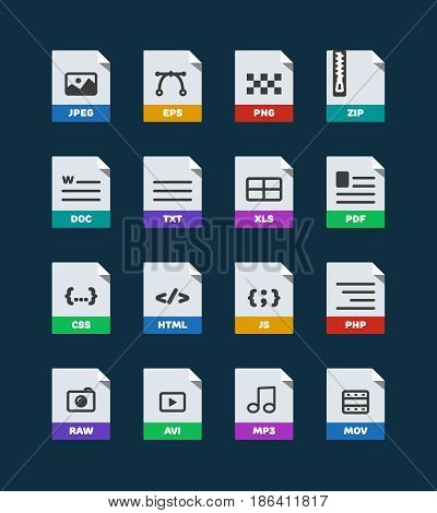 Flat colorful vector file format icons set isolated on dark, document type flat icons. File format icons with images. File format label icons for web and mobile application. Flat file types icons
