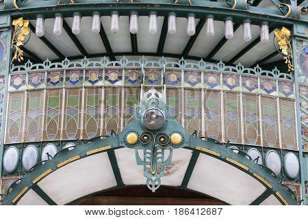 Municipal House entrance stained glass Prague Czech Republic