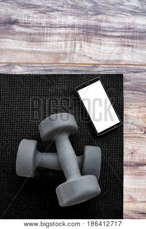Gym dumbbells on fitness mat showing phone app. Weights on exercise yoga mat and smartphone for health progress tracking mobile app. Phone showing copy on screen for exercising videos online.