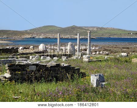 Archaeological Site of Delos, the Impressive UNESCO World Heritage Site on Delos Island, Mykonos, Greece