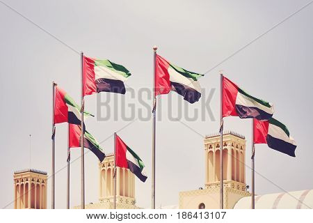 Seven United Arab Emirates flags color toning applied Sharjah United Arab Emirates.