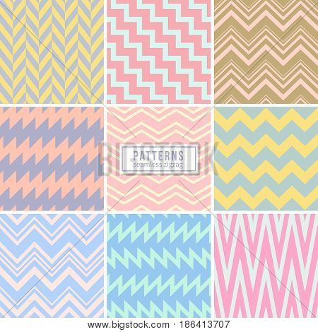 Cute wedding pink seamless vector patterns. Stylish background with zigzag lines. Colored zigzag pattern of set, illustration of vintage zig zag seamless background