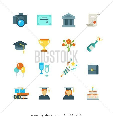 Graduate, student party college graduation vector flat icons. Award and achievement education, illustration of icons education