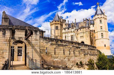 Beautiful castles of Loire valley - impressive medieval Saumur. France