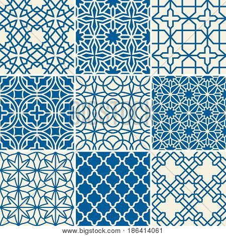Turkish texture vector semless patterns. Islamic arabic repetitive backgrounds set. Illustration of arabic patterns collection