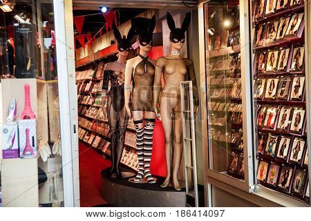 Amsterdam, Netherlands - April, 2017: Window of sex shop in Amsterdam city, Netherlands