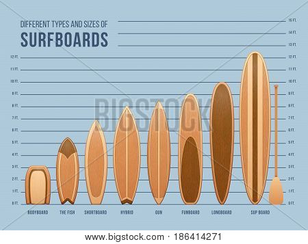Different sports surfboards for surfing vector. Set of surfing boards, illustration of wooden surfboard
