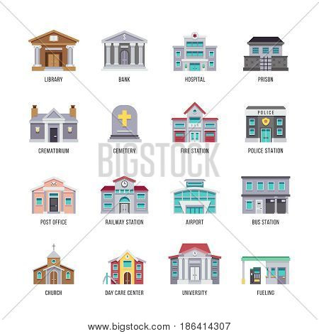 Municipal city buildings library, bank, hospital, prison vector icon set. Building architectural crematorium and cemetery, fire station and police illustration
