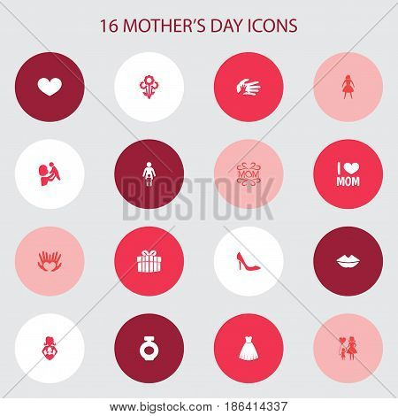 Mothers Day Icon Design Concept. Set Of 16 Such Elements As Evening Gown, Kid And Mouth. Beautiful Symbols For Love, Woman And Bottle.