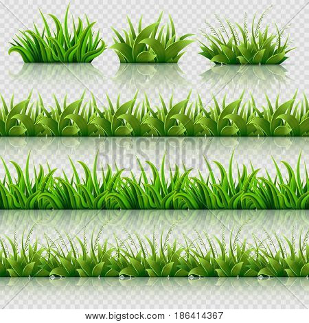 Green grass vector seamless borders set. Grass border nature, illustration of field summer grass