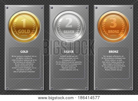 Sports or business vector infographics with winners award medals. Trophy medal and winner prize medals in transparency plate illustration
