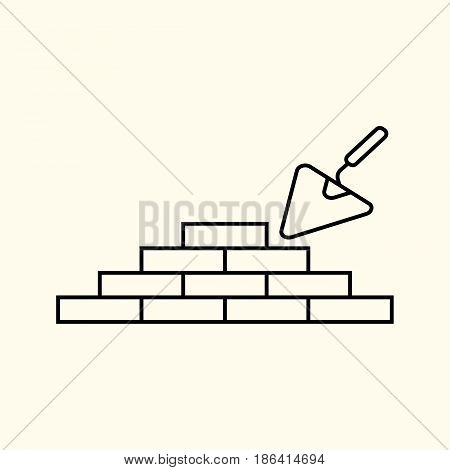 Simple vector linear illustration of a brick wall and a construction wizard a flat line icon.