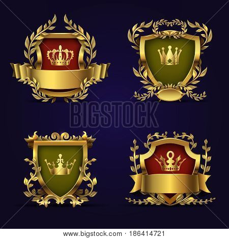 Royal heraldic vector emblems in victorian style with golden crown, shield and laurel wreath. Royal golden award crown with shield illustration