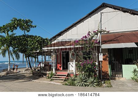 PUERTO VIEJO, COSTA RICA MARCH 18, 2017: Beach bar and restaurante in Puerto Viejo, Costa Rica