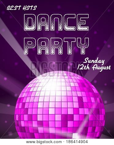 Dance disco party holiday vector event background or club invitation. Party disco dance banner, illustration of music party poster