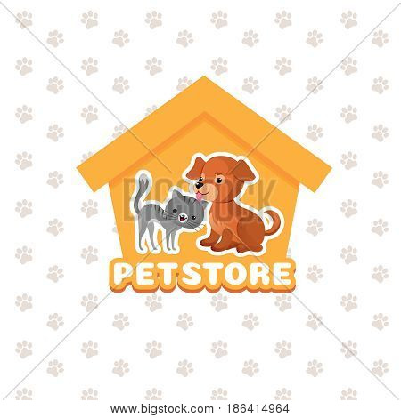 Pet store vector background with happy pets animals. Pets dog and cat, illustration of pet shop emblem