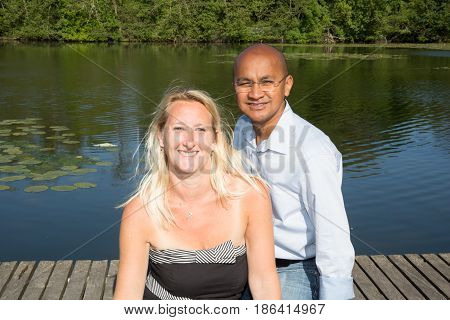 Mixed Couple On The Blond Lake Of Spanish Origin