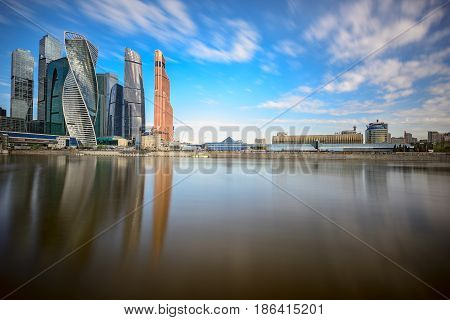 MOSCOW/ RUSSIA - MAY 1, 2017. Moscow International Business Center and the Krasnopresnenskaya embankment. Moscow, Russia